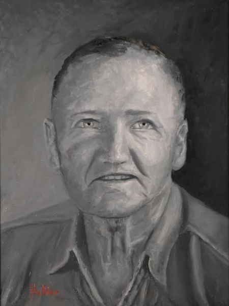 a black and white oil painting of a man